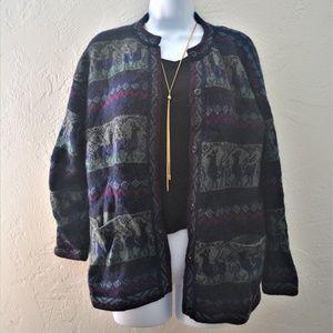 Vintage Unique Alpaca Wool Buttondown Cardigan